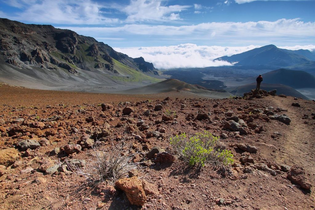 The Sliding Sands trail is a 5.5­mile round trip trail on top of the Haleakala volcano.