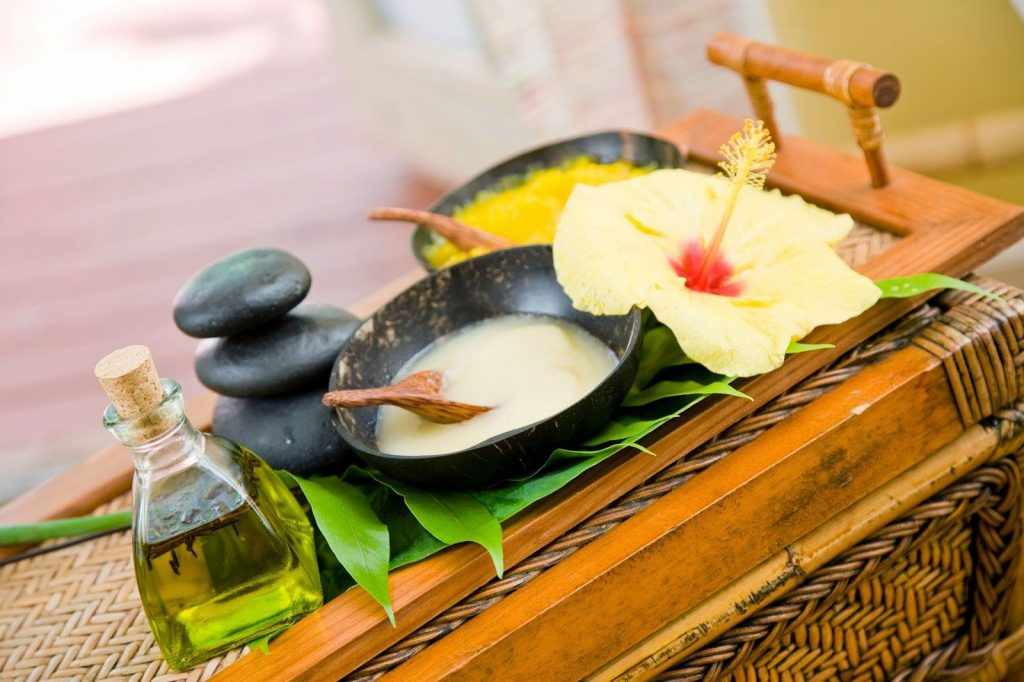 The treatment products at  Ho'omana Spa are all organic and infused with native herbs.  Image Source