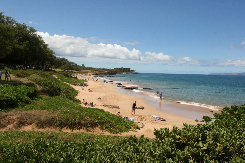 The snorkeling location at Kamaole Beach III is on the right side of the beach. Image Source