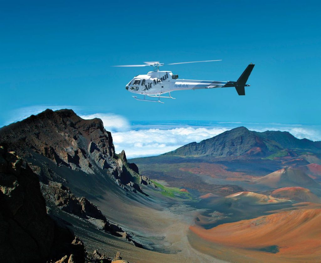 Air Maui helicopters feature leather seats, noise reducing headsets, air conditioning, and digital stereo music.  Image Source