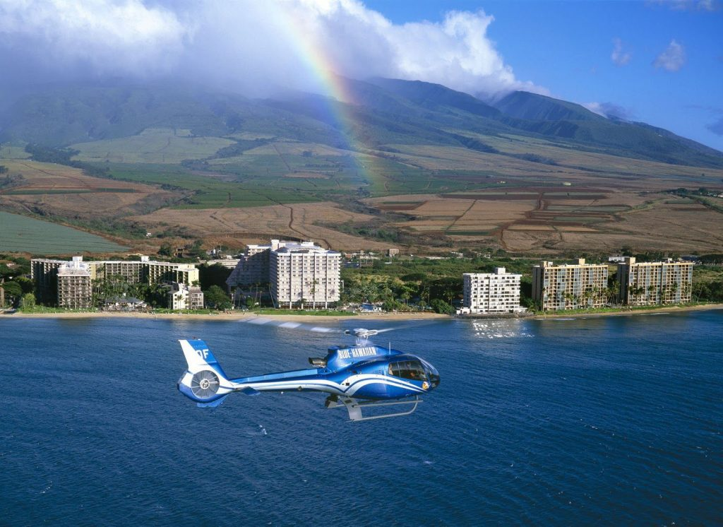 "Blue Hawaiian helicopters feature ""quiet­ technology,"" Bose noise­ cancelling headsets.  Image Source"