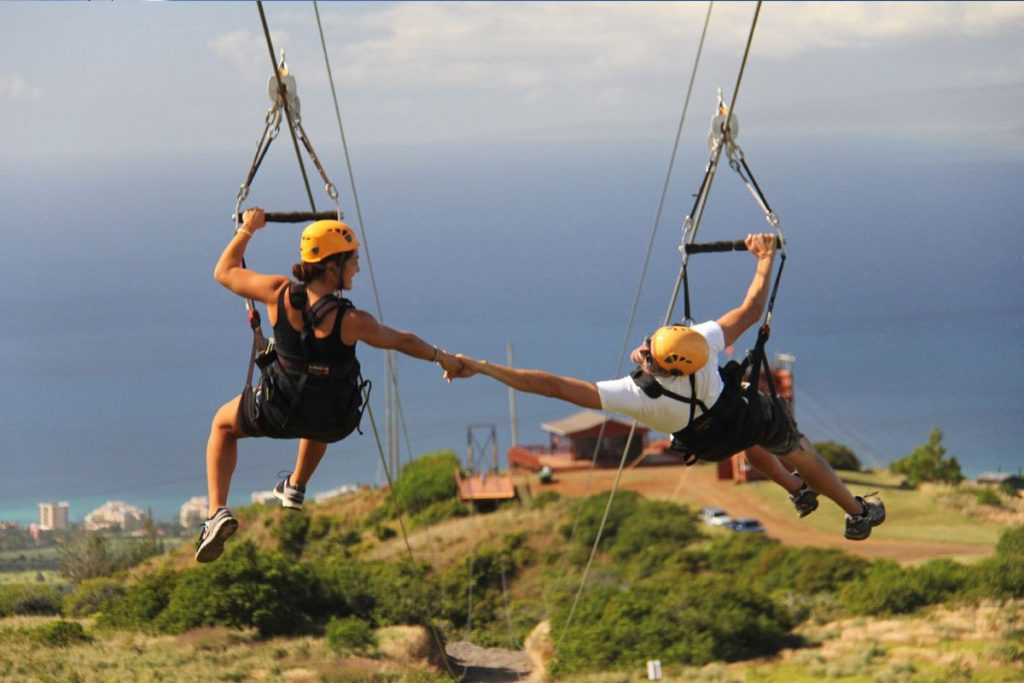 Kapalua Ziplines combines breathtaking views of the Pacific Ocean and Maui's dense forests.  Image Source